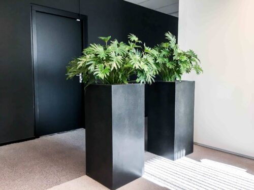 Composiet zwarte plantenbak