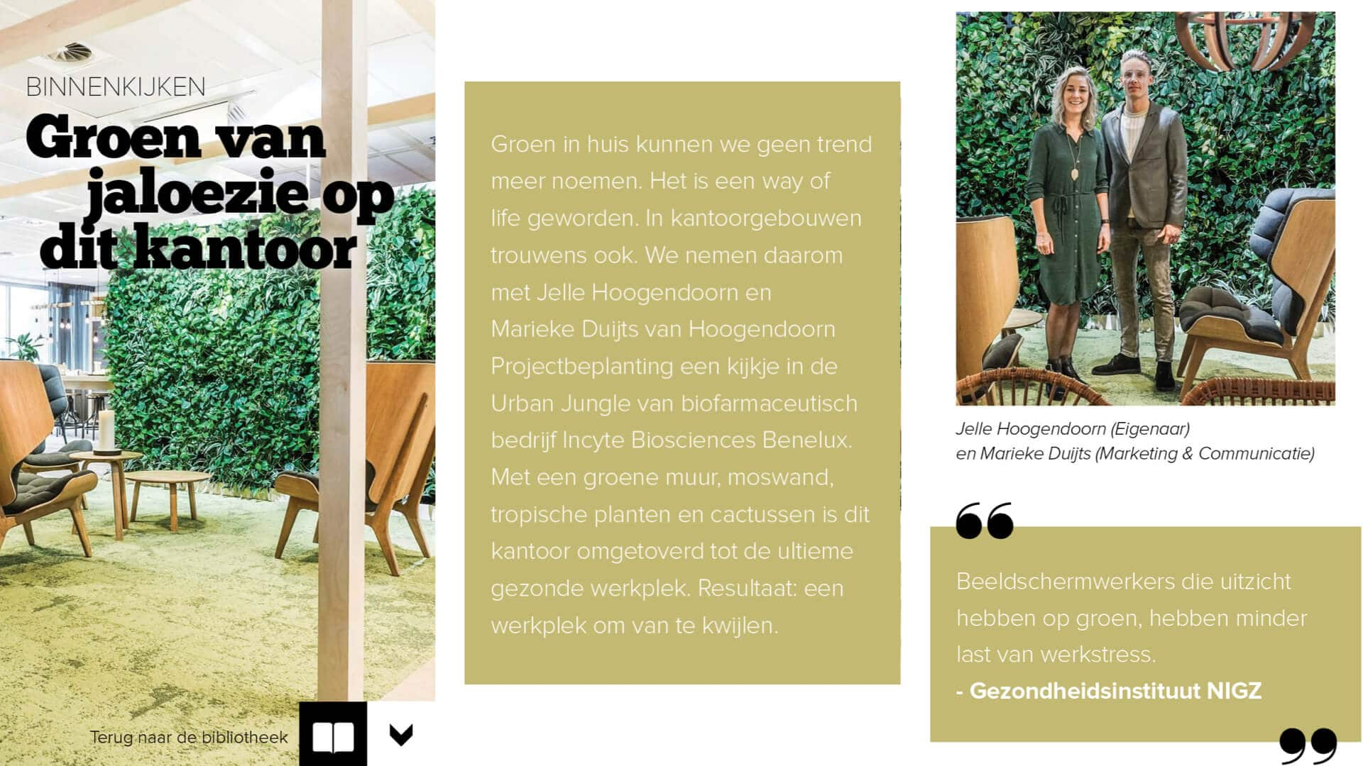 Hoogendoorn Projectbeplanting in interieur magazine
