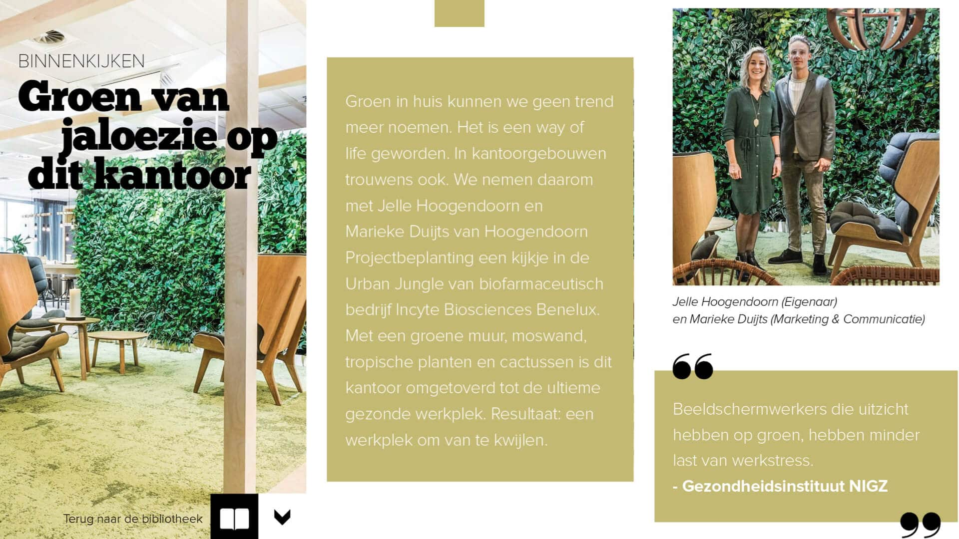 Hoogendoorn Projectbeplanting in interieur magazine