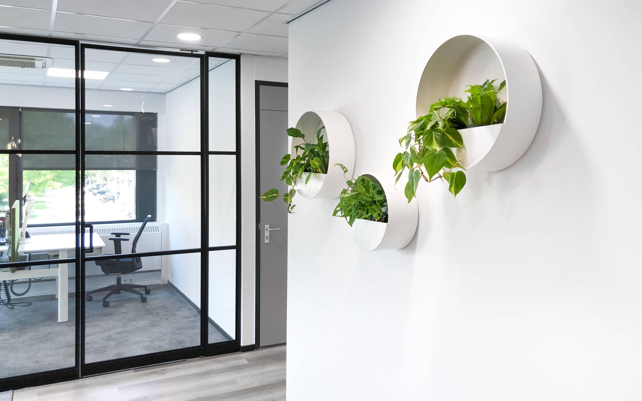 Planten in multivorm bij schep groep groene wand