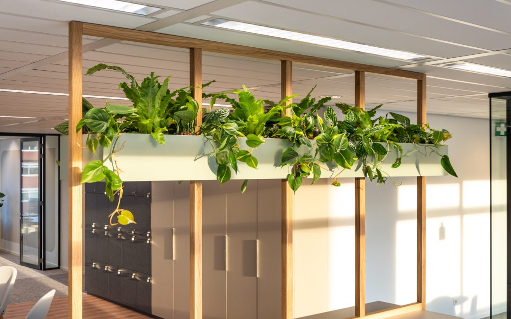 Plantenbak aan frame met planten