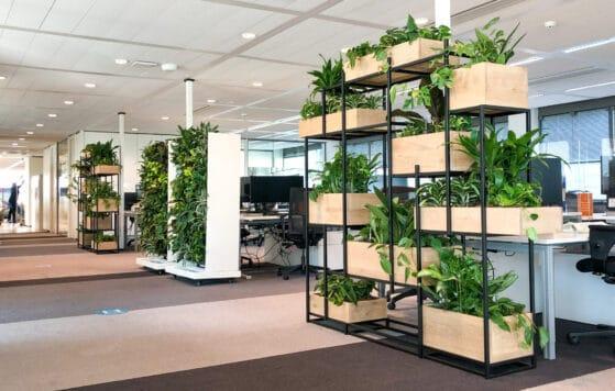 Kantoortrends 2021 diverse roomdividers met planten