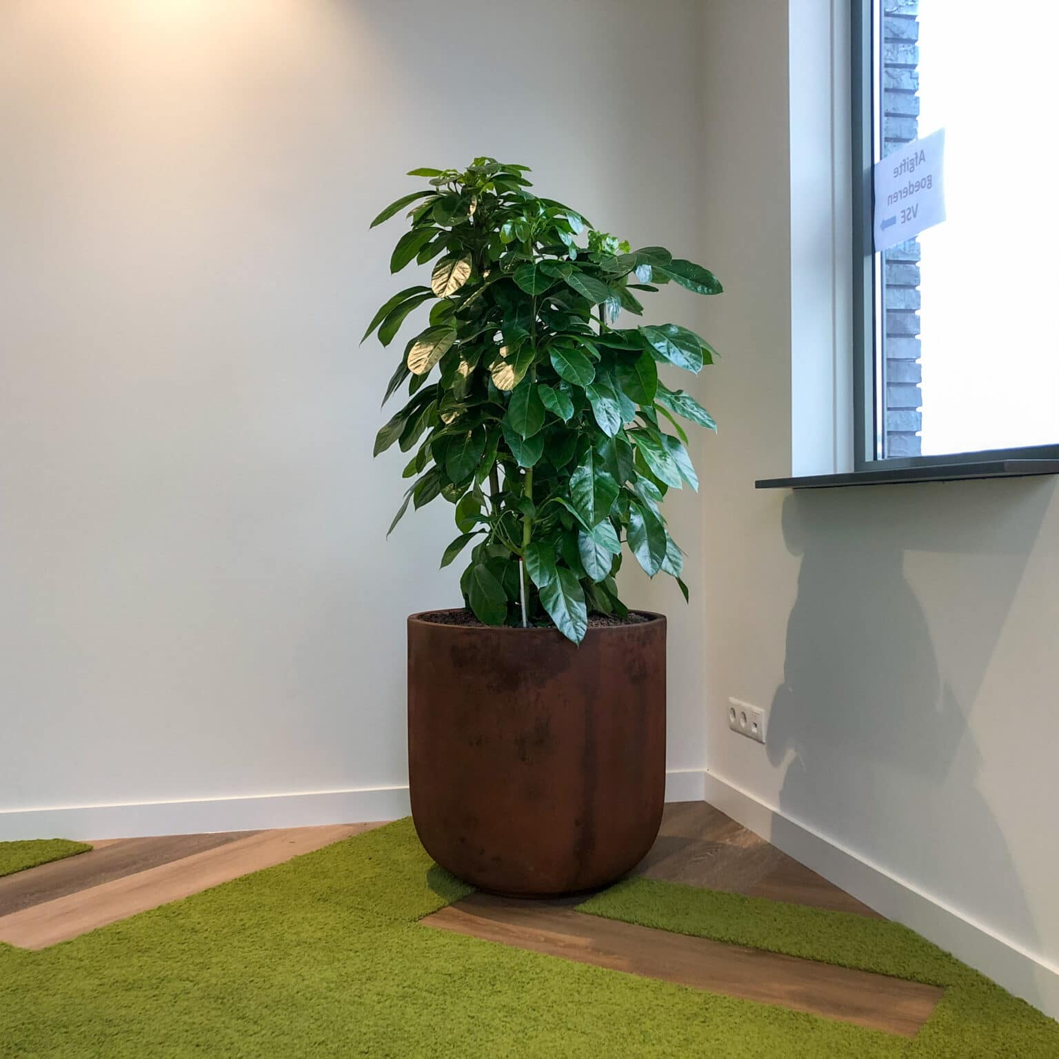 Stoere roestkleur plantenbak bij VSE